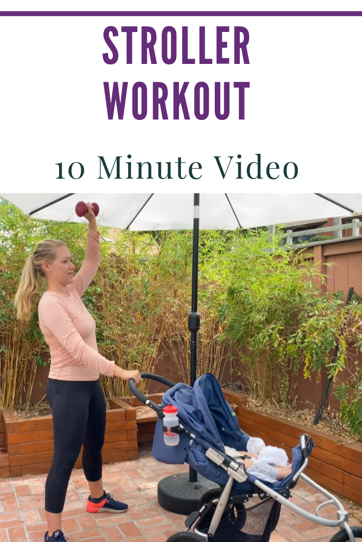 Stroller Workout Exercises to build strength and fitness. Follow the video!   #strollerworkout #fitmom